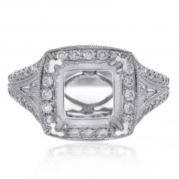 1.35 Carat Round & Baguette Cut Diamond Engagement Mounting 18K White Gold