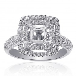 0.85 Carat Pave Set Round Diamond Double Halo Engagement Mounting 14K White Gold