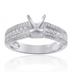 0.75 Carat Round Diamond Engagement Semi-Mounting 14K White Gold