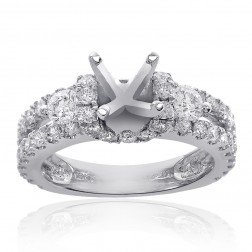 1.35 Carat Round Diamond Split Shank Engagement Semi-Mounting 18K White Gold