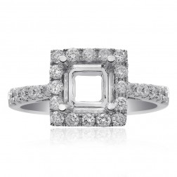 0.60 Carat Round Diamond Halo Engagement Mounting 14K White Gold