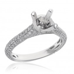 0.95 Carat Pave Set Round Diamond Engagement Ring Setting 18K White Gold