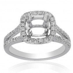 0.65 Carat Round Diamond Halo Split Shank Engagement Mounting 14K White Gold
