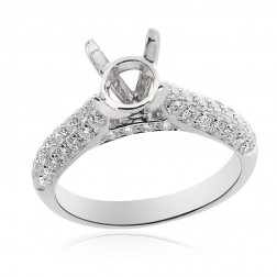 0.83 Carat Pave Round Diamond Engagement Semi-Mounting 14K White Gold