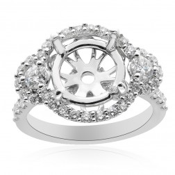 1.11 Carat Round Diamond Three Stone Halo Engagement Mounting 18K White Gold
