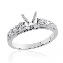 0.60 Carat Round Diamond Engagement Semi-Mounting 14K White Gold