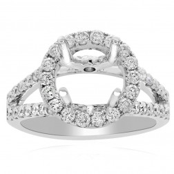 0.83 Carat Round Diamond Halo Split Shank Engagement Mounting 14K White Gold