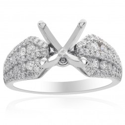 0.88 Carat Round Diamond Engagement Semi-Mounting 18K White Gold