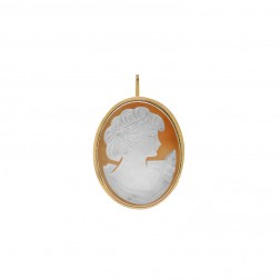 14k Yellow Gold Pine Resin Cameo Portrait Pendant Brooch