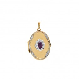 0.25 Carat Cabochon Cut Ruby & Diamond Accent Oval Locket Charm Pendant 14k Yellow Gold