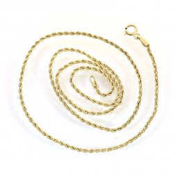 1.60mm 10K Yellow Gold Semi Hollow Rope Chain