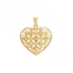 Heart Pendant 14K Yellow Gold Diamond Cut
