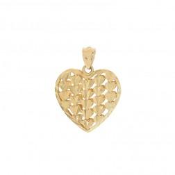 Heart Pendant 14K Yellow Gold Diamond Cut