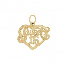 """Sweet 16"" Heart Pendant 14K Yellow Gold Diamond Cut"
