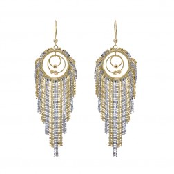 Stunning Chandelier Hoop Earrings With Dangling Chains 14K Two Tone Gold