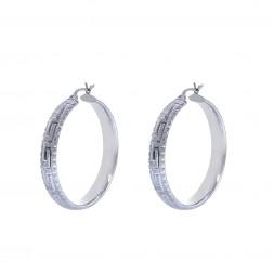 Diamond Cut Greek Key Pattern Hoop Earrings 14K White Gold