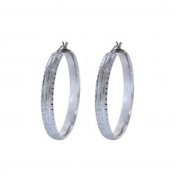 Greek Key Diamond Cut Hoop Earrings 14K White Gold