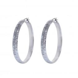 Diamond Cut Hoop Earrings 14K White Gold