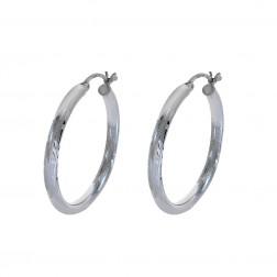 Diamond Cut Design Hoop Earrings 14K White Gold