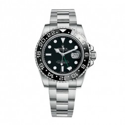 Rolex GMT-Master II Stainless Steel Watch Black Dial Ceramic Bezel 116710LN