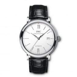 IWC Portofino Stainless Steel Watch Silver Dial on Leather Strap IW356501