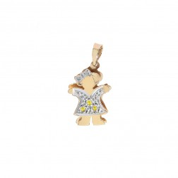 0.03 Carat Citrine 14K Two Tone Girl Charm