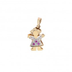 0.03 Carat Tourmaline 14K Two Tone Gold Girl Charm