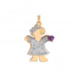 0.55 Carat Heart Shape Amethyst & 0.08 Carat Diamond 14K Two Tone Gold Girl Pendant