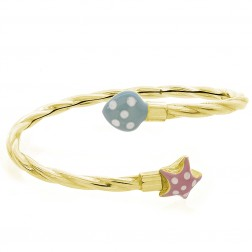 Baby's 14K Yellow Gold With Enamel Details Bangle Bracelet