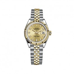 Rolex Lady Datejust 28 Steel & 18K Yellow Gold Watch Champagne Diamond Dial 279173