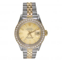 Rolex Lady Datejust 26 18K Yellow Gold & Steel Watch Custom Diamond Bezel 69173