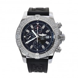 Breitling Super Avenger Stainless Steel Watch With Custom Diamond Bezel A13370