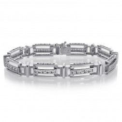 2.75 Carat Mens Channel Set Round Cut Diamond Bracelet 14K White Gold