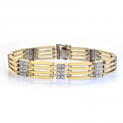 1.25 Carat Mens Round Cut Diamond Bracelet 14K Yellow Gold