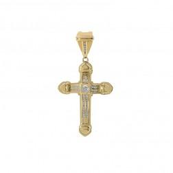0.45 Carat Round Cut Diamond Cross Pendant 14K Yellow Gold