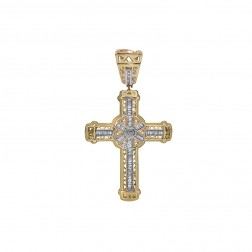 1.00 Carat Round & Baguette Cut Diamond Cross Piece 14K Yellow Gold