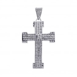 7.50 Carat Channel Set Round Diamond Cross Pendant 14K White Gold