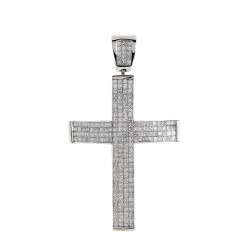 6.00 Carat Invisible Set Princess Diamond Cross Pendant 14K White Gold