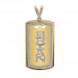 """2.25 Carat Pavé Round Diamond Dog Tag Pendant """"Brian"""" 14K Yellow Gold"""