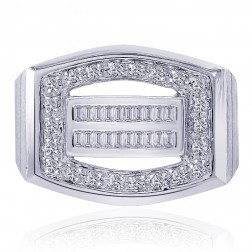 0.50 Carat Pave Round Cut and Baguette Cut Diamonds Mens Ring 14K White Gold