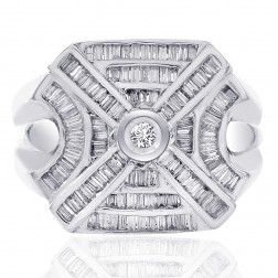 1.50 Carat Baguette and Round Cut Center Diamond Mens Ring 14K White Gold