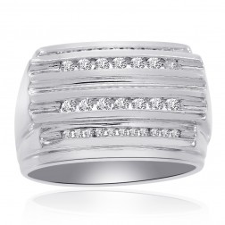 0.65 Carat Channel Setting Mens Round Cut Diamond Ring 14K White Gold