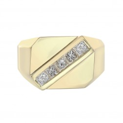 1.05 Carat Princess Cut Diamond Channel Setting Mens Ring 14K Yellow Gold