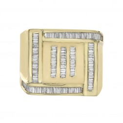1.00 Carat Baguette Cut Channel Setting Diamonds Mens Ring 14K Yellow Gold