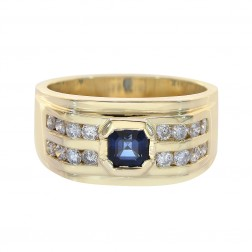 0.65 Carat Round Diamonds 0.75 Carat Princess Sapphire Mens Ring 14K Yellow Gold