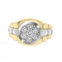 0.75 Carat Round Cut Prong Setting Diamonds Mens Ring 18k Two Tone Gold