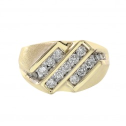 1.00 Carat Round Cut Channel Setting Diamonds Mens Ring 14K Yellow Gold