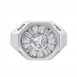2.00 Carat Round And Baguette Cut Diamonds Men's Ring 14K White Gold