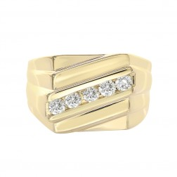 0.55 Carat Round Cut Diamond Channel Setting Mens Ring 14K Yellow Gold