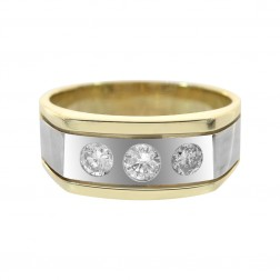 0.50 Carat Three Round Cut Diamonds In A Bezel Setting Mens Ring 14K Two Tone Gold
